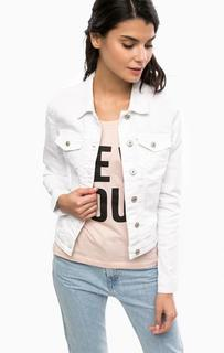 Белая куртка из денима с карманами Only