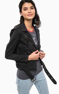 Черная куртка из денима на молнии Only