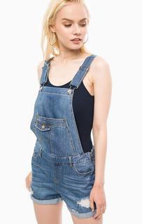 Рваный джинсовый комбинезон с отворотами Vero Moda