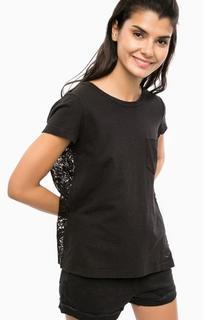 Черная футболка с кружевной спинкой Replay