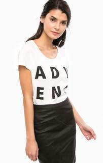Белая футболка из черным принтом Vero Moda