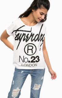 Белая футболка с контрастным принтом Superdry