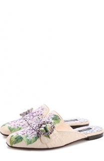 Парчовые сабо с цветочным принтом Dolce & Gabbana