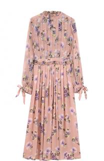 Шелковое платье-миди с цветочным принтом MSGM