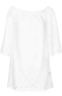 Льняное платье с открытыми плечами и перфорацией Polo Ralph Lauren