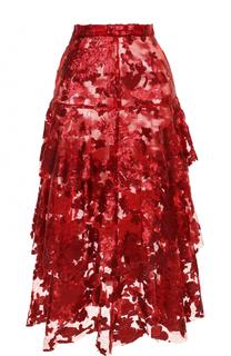 Многоярусная юбка-миди с пайетками Rodarte