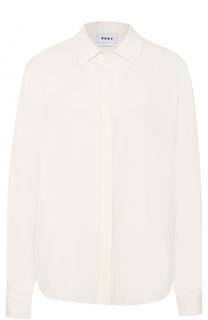 Шелковая блуза прямого кроя с удлиненной спинкой DKNY