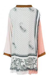 Удлиненная блуза свободного кроя с принтом и бахромой Acne Studios