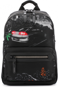 Текстильный рюкзак с принтом и отделкой из натуральной кожи Lanvin