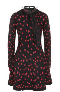 Платье с принтом в виде сердец и воротником аскот REDVALENTINO