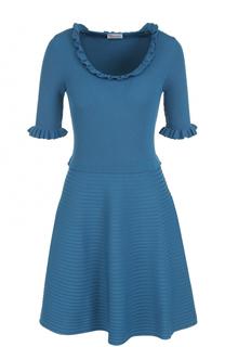 Приталенное мини-платье с коротким рукавом и оборками REDVALENTINO