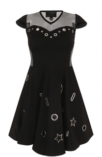 Приталенное мини-платье с металлизированной отделкой Philipp Plein
