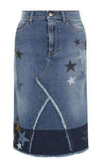 Джинсовая юбка с нашивками и бахромой REDVALENTINO