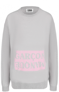 Хлопковый пуловер с круглым вырезом и надписью Sonia by Sonia Rykiel