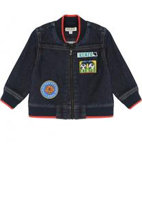 Куртка из денима с эластичными вставками и нашивками Kenzo