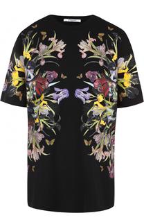 Удлиненная футболка прямого кроя с цветочным принтом Givenchy