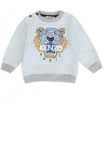 Хлопковый свитшот с вышивкой и контрастной отделкой Kenzo