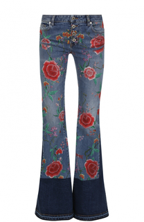 Расклешенные джинсы с разрезами и цветочным принтом Roberto Cavalli