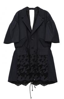 Однобортное приталенное пальто с укороченным рукавом Sacai