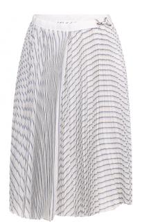 Плиссированная юбка-миди в полоску Sacai