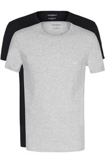 Комплект из двух хлопковых футболок с круглым вырезом Emporio Armani