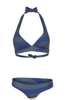 Раздельный купальник в полоску с треугольным бра Fendi