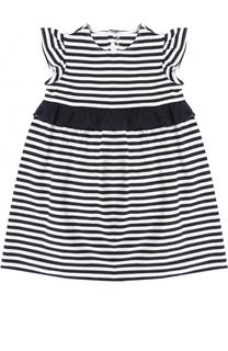 Платье из эластичного хлопка в полоску с контрастной оборкой Il Gufo