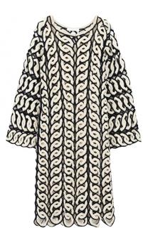 Платье-миди фактурной вязки с длинным рукавом Chloé