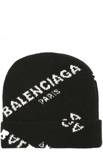 Вязаная шапка из шерсти с надписями Balenciaga