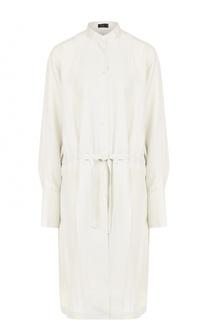 Шелковое платье-рубашка с воротником стойкой Joseph