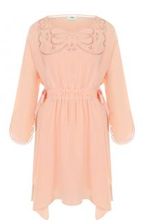Шелковое приталенное платье с декоративной отделкой Fendi