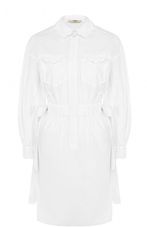Приталенное платье из хлопка с декоративной отделкой Fendi