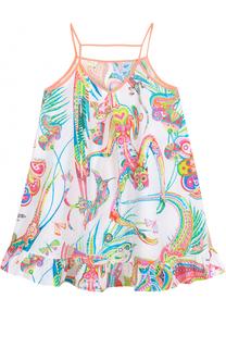Хлопковый сарафан с ярким принтом на тонких бретельках Roberto Cavalli