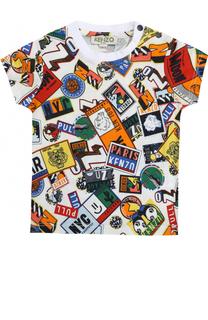 Хлопковая футболка с ярким принтом Kenzo