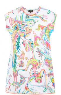 Мини-платье из эластичного хлопка с ярким принтом Roberto Cavalli