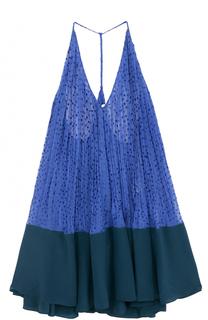 Шелковое мини-платье свободного кроя Fendi