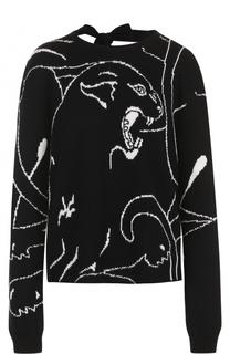 Кашемировый пуловер с принтом и открытой спиной Valentino