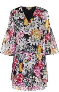 Шелковое мини-платье с цветочным принтом Burberry