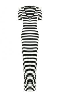 Вязаное платье в полоску с V-образным вырезом Dsquared2