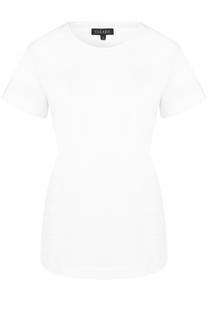 Хлопковая футболка с кружевной отделкой Escada