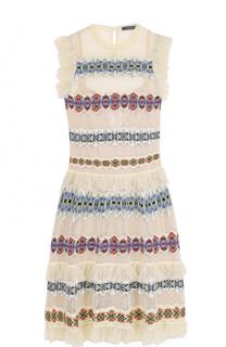 Шелковое кружевное мини-платье Alexander McQueen