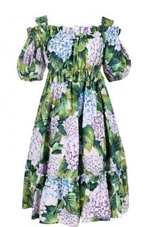 Мини-платье с открытыми плечами и цветочным принтом Dolce & Gabbana