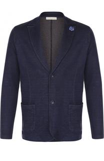 Однобортный пиджак из смеси хлопка и льна Daniele Fiesoli