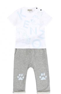 Хлопковый комплект из футболки и брюк Kenzo
