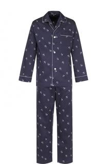 Хлопковая пижама с принтом Alexander McQueen