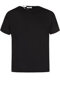 Хлопковая футболка с декоративной отделкой воротника Valentino