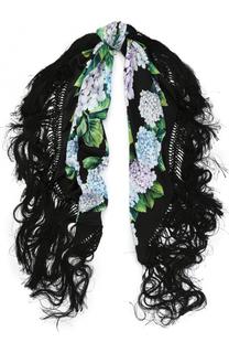 Шелковый шарф с принтом с бахромой Dolce & Gabbana