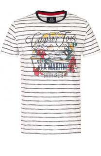 Хлопковая футболка в контрастную полоску с принтом La Martina