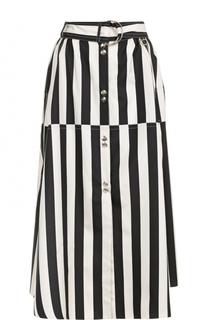 Шелковая юбка в полоску с поясом Nina Ricci