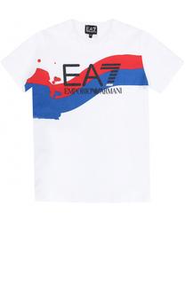 Хлопковая футболка с принтом Ea 7